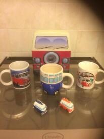 Campervan Mugs, Storage Tin & 2 Mini Ornaments