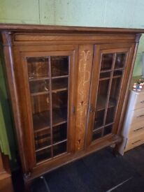 Antique Inlaid bevelled glass oak display cabinet