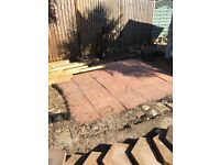 Pink paving slabs 17.5 inches square