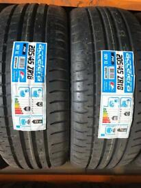 205/45/18 205 45 18 90Y XL BRAND NEW TYRE ACCELERA PAIR OF 2 TYRES FITTED BALANCED £120