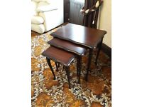 Set of small wooden tables