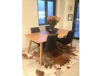 Solid Oak Dining Table With Two Extenders Seats 12