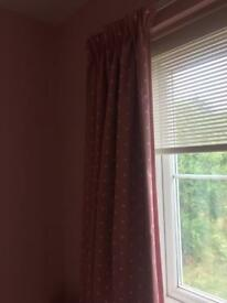 Pink polka dot blackout lined curtains and matching light shade