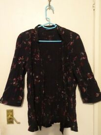 Black Shirt with flowers - Evans size 16
