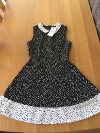 Marks and Spencer Black and white dress with heart detailing age 13-14