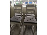 4x White Wooden Dining Chairs with Grey Cushions