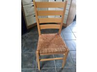 4 Habitat wooden dining chairs with rush seats & Next cream cushion pads.GC