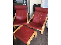 IKEA red leather poang chairs X 2 & footstool