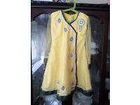 Yellow Girl's 2-Piece Rupali Anarkali Dress, Size 28, Age 8-10 years