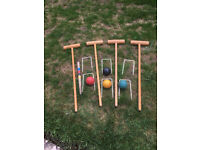 Used but complete wooden Croquet Set