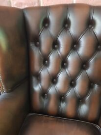 vintage brown leather chesterfield wingback armchair