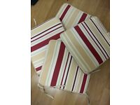 4 striped outdoor cushions with ties suitable for garden chairs