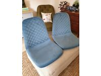 Two Teal Suede Dining Chair Seats BRAND NEW