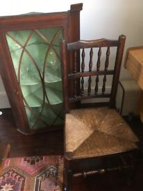Lovely antique Victorian wood chairs & 17th Century dutch oak table