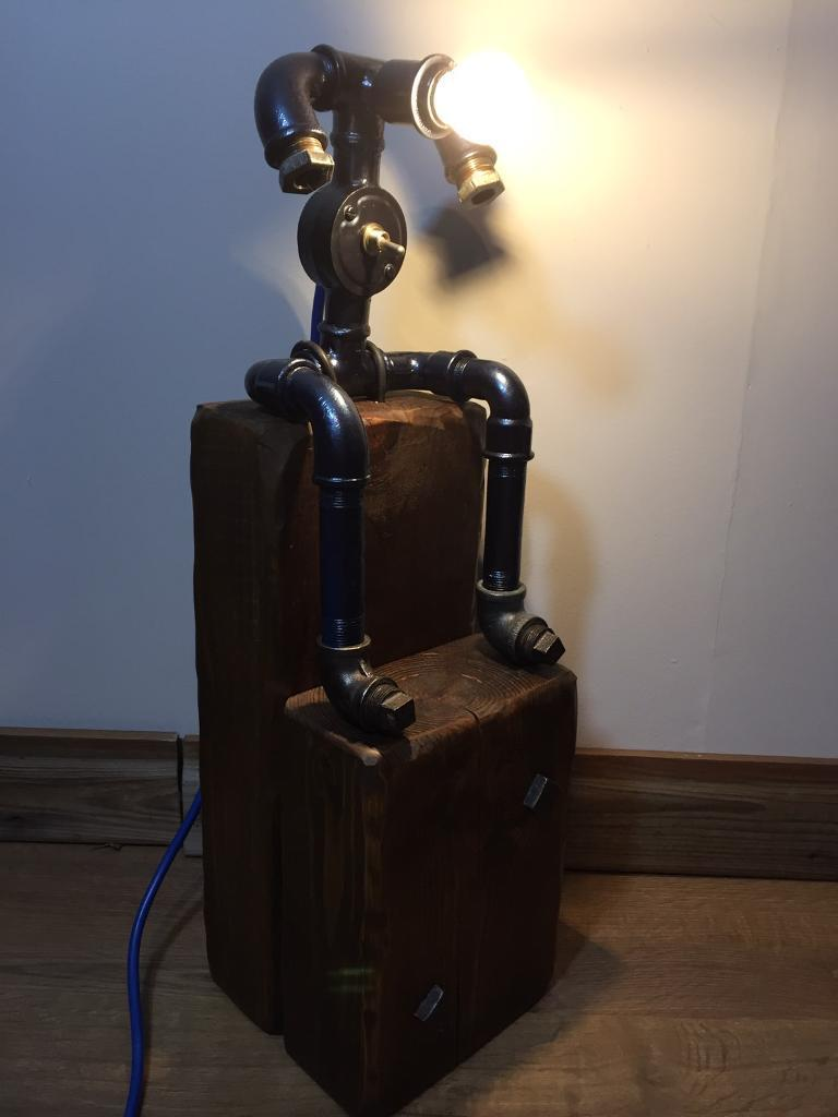 Industrial Light Steampunk Pipe Man mounted on wood