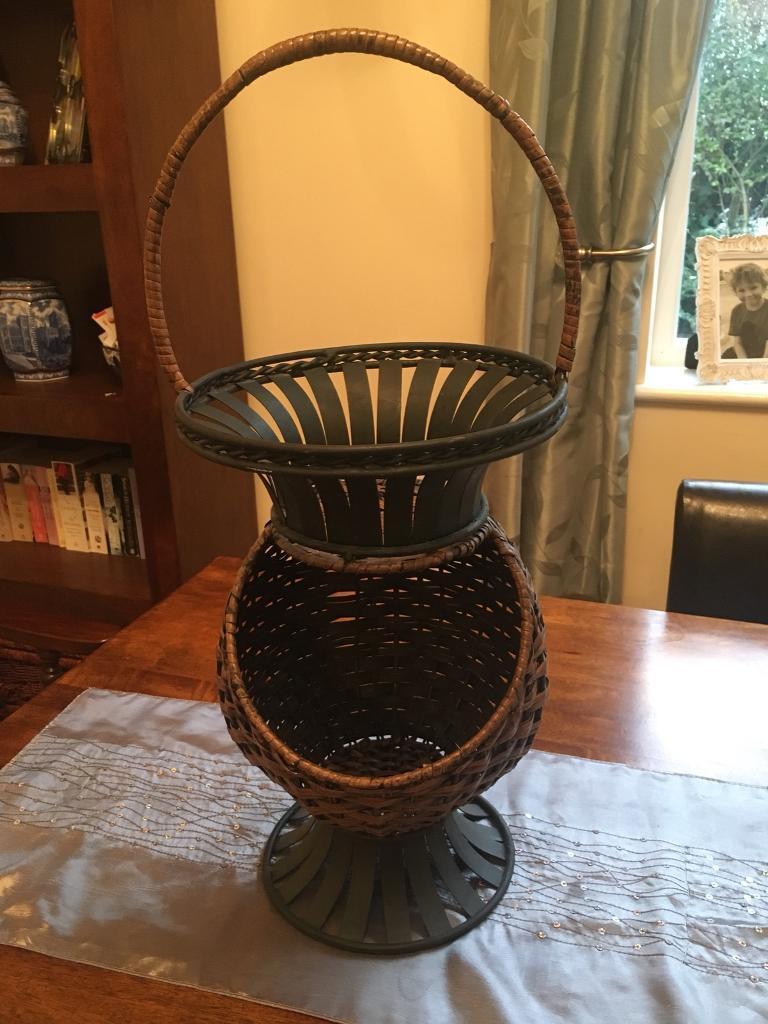 Really unusual metal and wicker basket