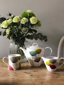 Sanderson Dandelion bone China teapot, milk jug & 4 mugs