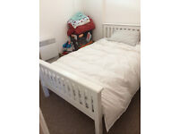 Three Quarter White Bedstead and mattress
