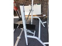 Weight bench squat rack weights Olympic bar 125kg of weights fitness gym