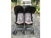 Double Love n Care Pushchair, brought over from Australia, in good condition & good storage in back