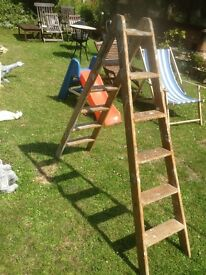 UNUSUAL DOUBLE SIDED VINTAGE WOODEN STEPLADDERS