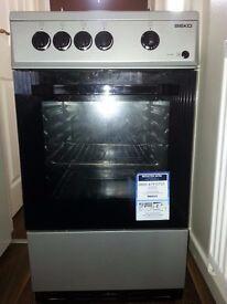 Beko BSG585 Gas Single Oven Cooker (Silver)