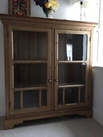 Stunning glass fronted antique pine bookcase