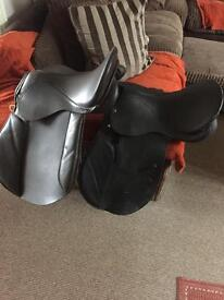 Synthetic leather saddles x2