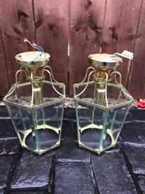 Brass / Glass Ceiling Lanterns pair of.