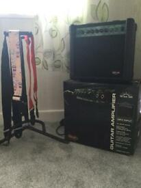 Stagg Guitar Amp With Stagg Guitar Stand And 3 Straps