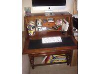 Vintage Art Deco Solid Oak FoldingTop Office Bureau Writing Desk