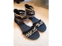 Size 4 Black Sandals with Gold and Feather Details