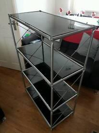 Book Shelving - Black Glass Shelves and Aluminium Frame
