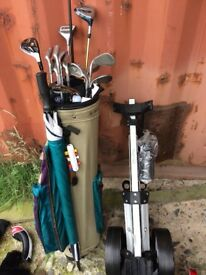 Golf bag, clubs and a trolly never been used