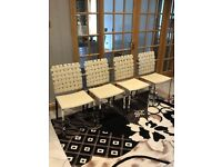 Cream leather kitchen table chairs X4