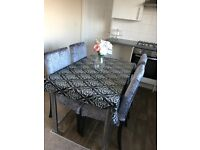 4 x Crushed Velvet Silver Grey Dining Table Chairs