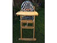 Lovely East Coast Wooden Highchair with Seat cushion