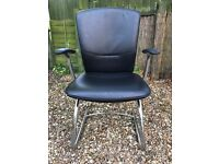 BOSS, DESIGNER BLACK LEATHER CHAIRS, MINT CONDITION, 4 AVAILABLE AT £35 EACH