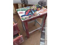Superhero small table and 2 drawer cabinet