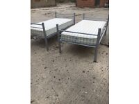 2 X METAL FRAME SINGLE BEDS WITH MATTRESSES