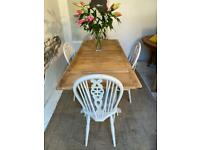 Ercol Vintage Extending Refectory Kitchen Dining Table and Chairs Refurbished