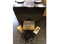 Tapco Thump Speakers, Mixer Desk, Mics