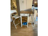 IKEA tall single table and 2 chairs (dining set)
