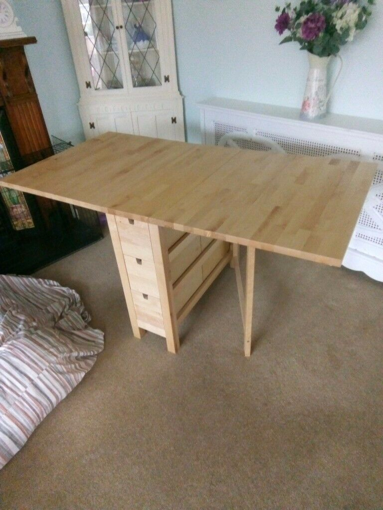 Birch gateleg table and 4 chairs.