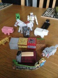 Mine craft bundle 4 hard back books 2sealed games and figures