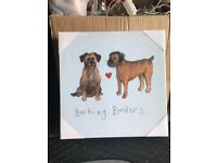 "Alex Clark - ""Barking Borders"" Border Terrier Canvas - Brand New"