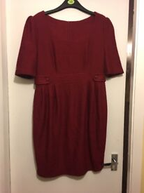 ASOS dark red maternity workwear dress size 12
