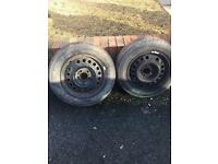 Two Vauxhall wheels and new tyres