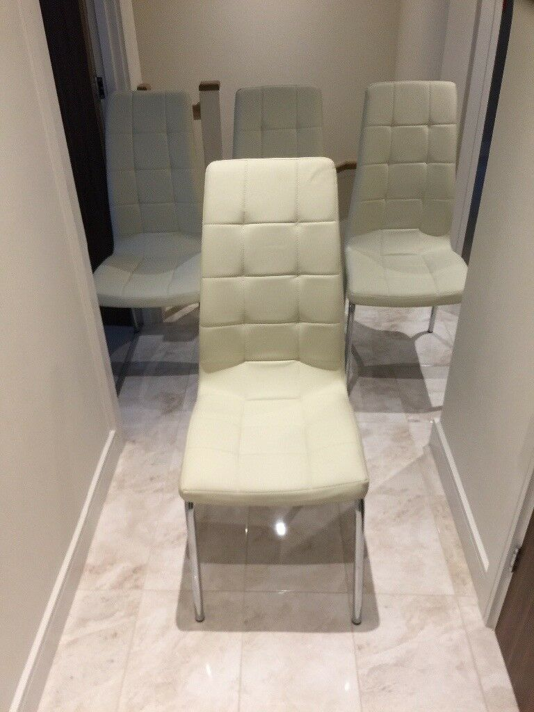 X 4 cream leather chair