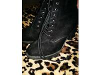 Black Thick Heeled Boots UK Size 8